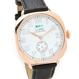 La Mer Collections Oversized Watch, Black/RoseGold